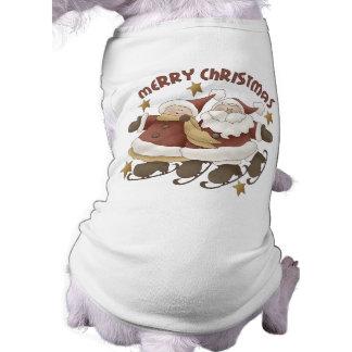 Mr And Mrs Santa Claus Christmas Dog Tee Shirt