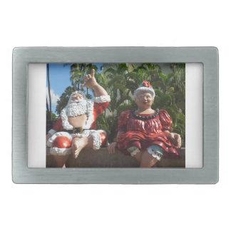 Mr and Mrs Santa Claus Rectangular Belt Buckles