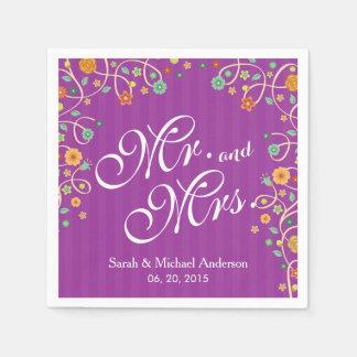Mr. and Mrs. Stylish Purple Swirl Floral Wedding Disposable Serviette