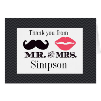 Mr and Mrs Thank you card  Wedding Bridal shower