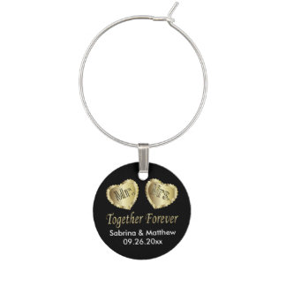Mr and Mrs Together Forever in Gold & Black   DIY Wine Charm