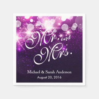 Mr. and Mrs. Trendy Purple Glitter Sparkle Wedding Paper Napkins