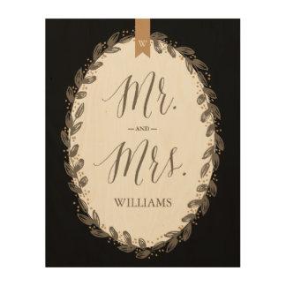 Mr. and Mrs. Vintage Floral Monogram Wedding Sign Wood Canvas