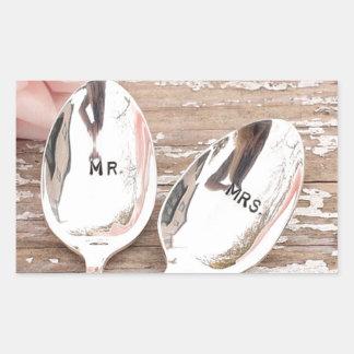 Mr. And Mrs. Wedding celebration design Rectangular Sticker
