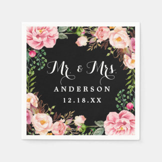 Mr and Mrs Wedding Classy Pink Flowers Wreath Disposable Serviette