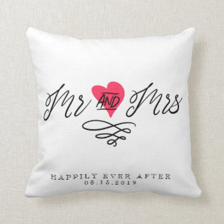 Mr and Mrs Wedding Keepsake Personalised Couple Throw Pillow