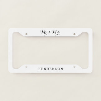 Mr And Mrs Wedding Licence Plate Frame