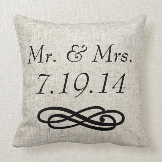 Mr. and Mrs. Wedding Linen Burlap Throw Pillow
