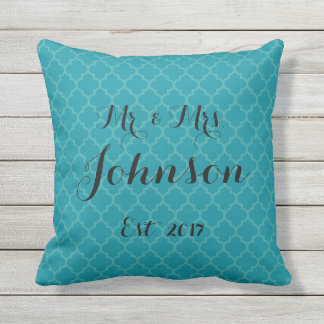 Mr. and Mrs. Wedding Pillow Turquoise & Teal Blue