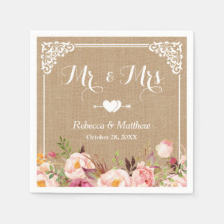 Mr. and Mrs. Wedding Rustic Burlap Floral Frame Paper Napkin