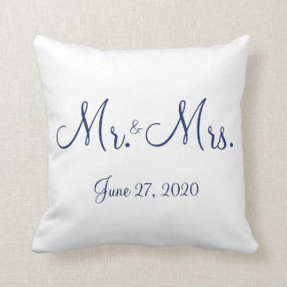 Mr. and Mrs. White Nautical Wedding Pillows
