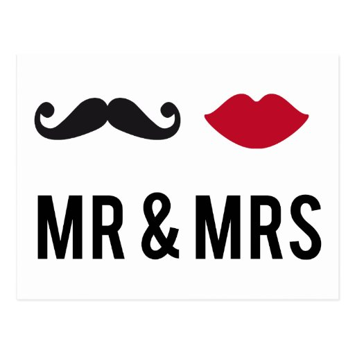mr. and mrs. with mustache and red lips post cards