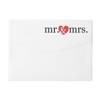 Mr and Mrs Wrap Around Return Address Wrap Around Label