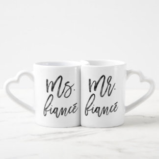Mr. and Ms. Fiancé Inky Trendy Lettering Coffee Mug Set