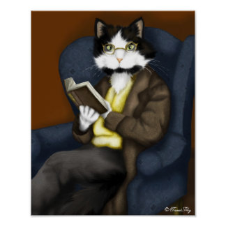 Mr Bennet Cat in the Library by TaraFly Poster