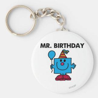 Mr. Birthday | Happy Birthday Balloon Basic Round Button Key Ring