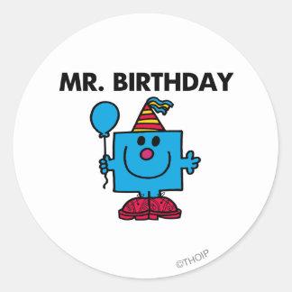 Mr. Birthday   Happy Birthday Balloon Round Sticker