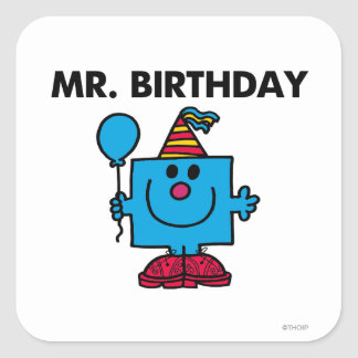 Mr. Birthday | Happy Birthday Balloon Square Sticker