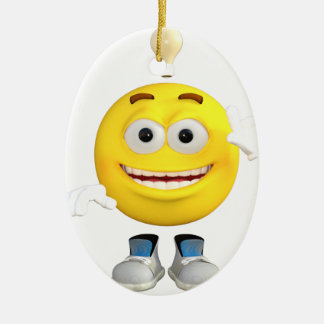 Mr. Brainy the Emoji that Loves to Think Ceramic Oval Decoration