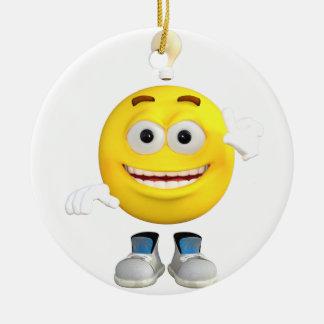 Mr. Brainy the Emoji that Loves to Think Round Ceramic Decoration