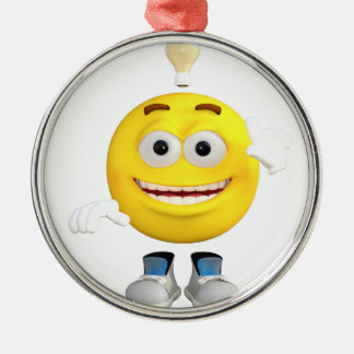 Mr. Brainy the Emoji that Loves to Think Silver-Colored Round Decoration