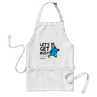 Mr. Busy | Let's Get Busy Black Text Standard Apron