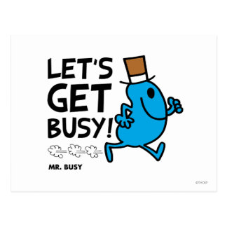 Mr. Busy   Let's Get Busy Black Text Postcard
