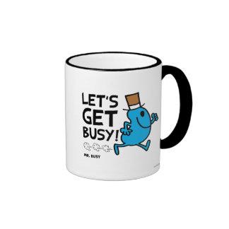 Mr. Busy | Let's Get Busy Black Text Ringer Mug