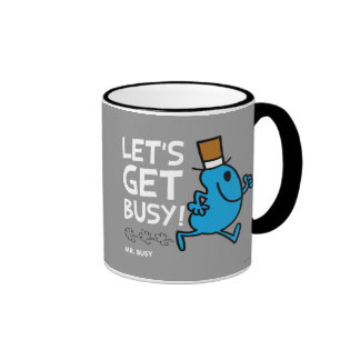 Mr. Busy | Let's Get Busy White Text Ringer Mug