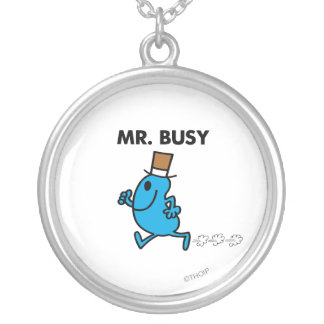 Mr. Busy Running Quickly Silver Plated Necklace