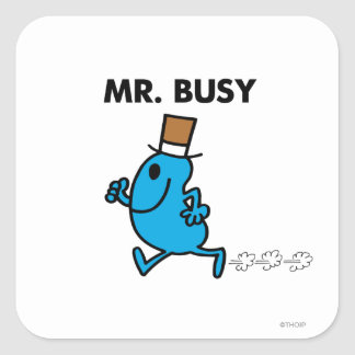 Mr. Busy Running Quickly Square Sticker