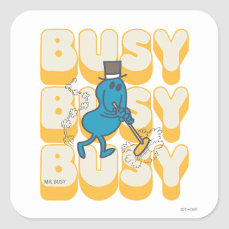 Mr. Busy Sweeping Quickly Square Sticker