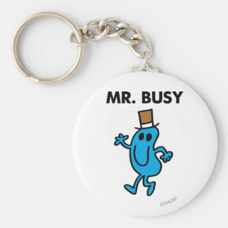 Mr. Busy Waving Hello Basic Round Button Key Ring