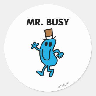 Mr. Busy Waving Hello Round Sticker