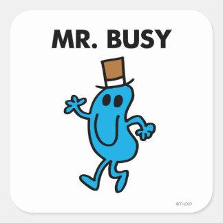Mr. Busy Waving Hello Square Sticker