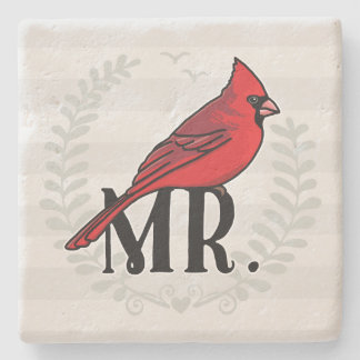 Mr. Cardinal Mr and Mrs His and Hers Stone Coaster