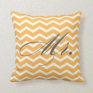 Mr. Chevron Stripes American MoJo Pillow