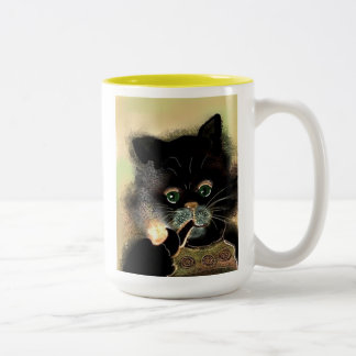 Mr.Cool Cat with Pipe! Two-Tone Coffee Mug