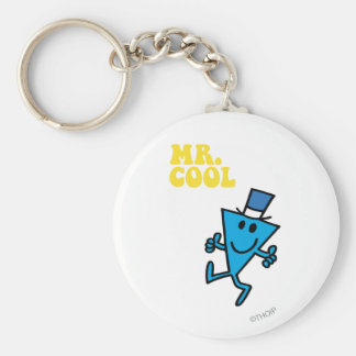 Mr. Cool | Yellow Lettering Basic Round Button Key Ring
