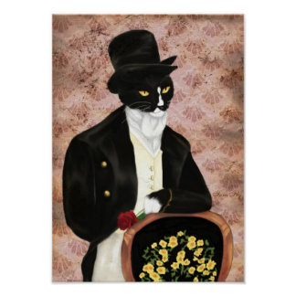 Mr Darcy Cat Holding Rose Print