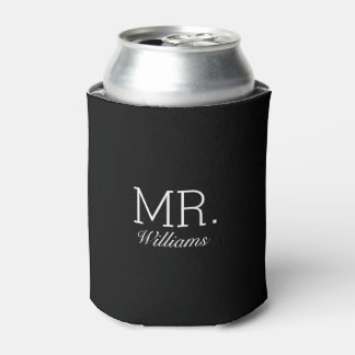 Mr. Elegant Script Name Can Cooler