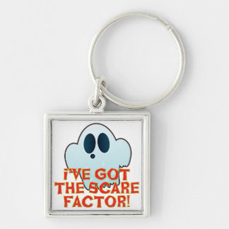 Mr Ghosty Scare Factor Silver-Colored Square Key Ring