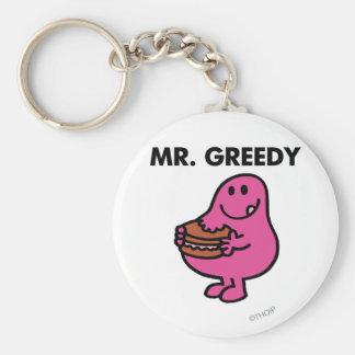 Mr. Greedy Eating Cake Basic Round Button Key Ring
