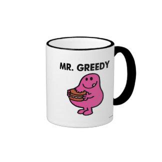 Mr. Greedy Eating Cake Ringer Mug