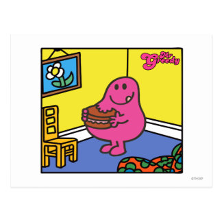 Mr. Greedy | Living Room Eating Postcard