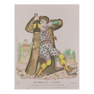 Mr Grimaldi as Clown, illuminating the Postcard