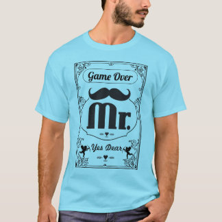 Mr. Groom Game Over Yes Dear Mustache T-Shirt