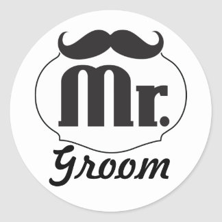 Mr. Groom Mustache Classic Round Sticker