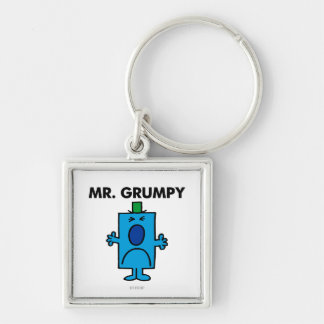 Mr. Grumpy | Frowning Face Silver-Colored Square Key Ring