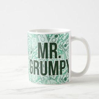 Mr Grumpy | Green Name and Character Toss Pattern Coffee Mug